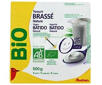Auchan Bio Yogur batido natural desnatado Biológico 4 Unidades de 125 Gramos