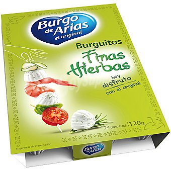 BURGO DE ARIAS Burguitos Queso fresco a las finas hierbas envase 120 g 24 unidades