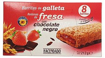 Hacendado Barrita galletas rellena fresa con chocolate negro Pack de 8x26,5 g