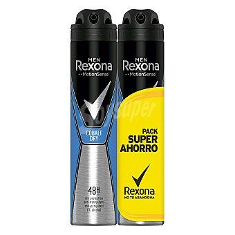 Rexona Men Motion Sense desodorante Cobalt Dry 0% alcohol anti-transpirante 48h Pack 2 spray 200 ml