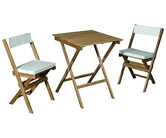 Garden Star Set de mobiliario de balcón modelo Shorea, compuesto por 2 sillas plegables de 80x46x56 y 1 mesa plegable de 71x60x60 centímetros, fabricados en madera FSC mixta 803316 1 unidad