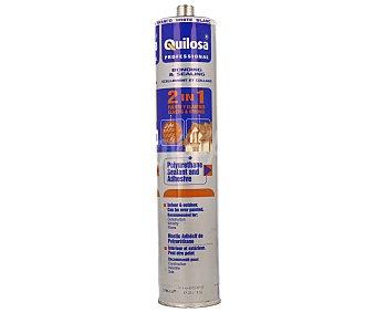 QUILOSA Sellador adhesivo de poliuretano, válido tanto para interiores como exteriores, acabado blanco y pintable 300 mililitros
