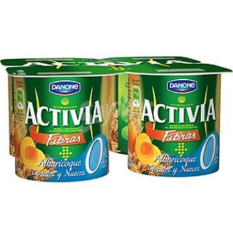 Danone Activia Fibras yogur desnatado con albaricoque y cereales 0% materia grasa Pack 4 unidades 125 g