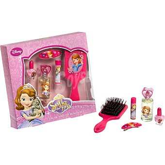 PRINCESA SOFIA Set con eau de toilette infantil spray 25 ml + cepillo del pelo + pasador + bálsamo labial + esmalte de uñas 1 pack