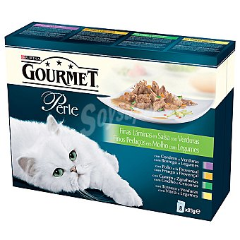 GOURMET PERLE Para gato finas láminas de carne variada en salsa con verduras pack 8 bolsa 85 g Pack 8 bolsa 85 g
