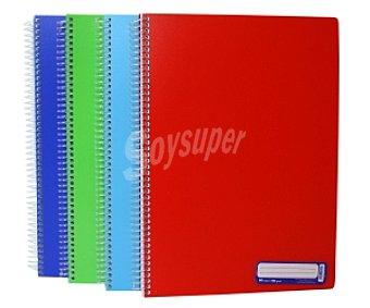 Auchan Cuaderno DIN A4 con 1 línea, 80 hojas de 90 gramos, tapas de plástico de alta resistencia de diferentes colores, microperforados con encuadernación con espiral plástica 1 unidad