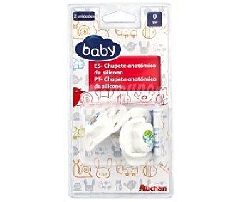Baby Chupete anatómico de silicona, 0-4 Meses, Blanco 2 Unidades