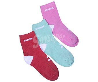 JOMA  pares de calcetines tobilleros para niña, color rosa/verde/rojo, talla 35/38 Pack de 3