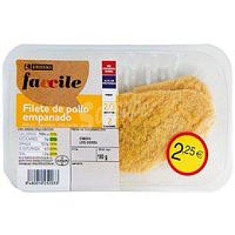 Eroski Faccile Filete de pechuga de pollo empanado Bandeja 180 g