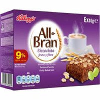 Kellogg's All bran Exp 72 bizcochitos fruta y fibra Pack de 6X40GR