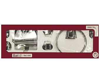 BLUEBATH Conjunto de baño cromado modelo Silva compuesto por 5 piezas; 2 talleros, 1 porta rollos y 2 ganchos 1 Unidad