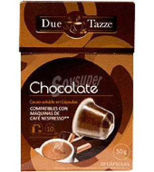 DUE TAZZE Chocolate en cápsula 10 ud
