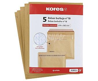 Kores 5 sobres de papel Kraft tamaño 370 x 360mm color marrón, con burbujas del número 18 kores