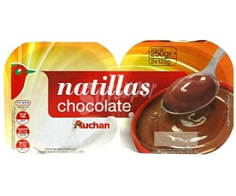 Auchan Natillas de Chocolate Pack 2 Unidades de 125 Gramos