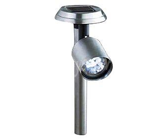 PROFILINE Foco solar con 3 bombillas led de luz blanca y cuerpo de acero, altura 36 centímetros 1 unidad