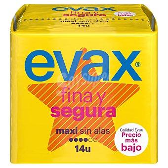 Evax Compresa ultra sin alas maxi fina y segura Paquete de 14 unidades