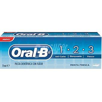 ORAL B 1.2.3 Pasta dentífrica con flúor sabor menta fresca Tubo 75 ml