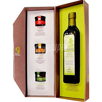 PARQUEOLIVA Aceite de oliva virgen extra botella 500 ml + cremas de chocolate sabores mandarina, chile y aceite de oliva Botella 500 ml