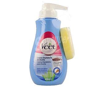 Veet Crema depilatoria de ducha con aloe vera para piel sensible Dosificador 400 ml