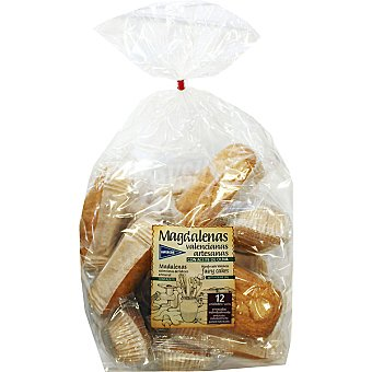 Hipercor Magdalenas valencianas caseras con aceite de oliva envasadas individualmente 12 unidades bolsa 380 g 12 unidades