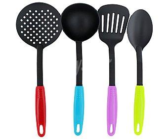 GSMD Set de 4 utensilios para servir fabricados en nylon negro con mango de color 1 Unidad