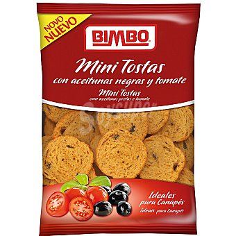 BIMBO mini tostas con aceitunas negras y tomate envase 100 g