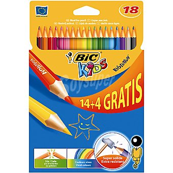 BIC Kids Evolution  ápices de colores + 4 gratis estuche con 14 l