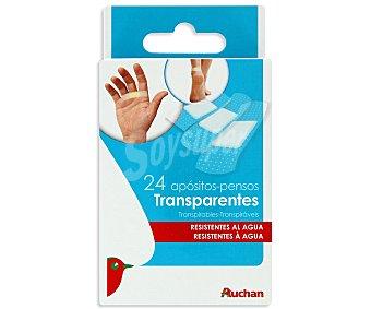 Auchan Apósitos transparentes de 3 tamaños, transpirables, anatómicos y resistentes al agua 24 uds