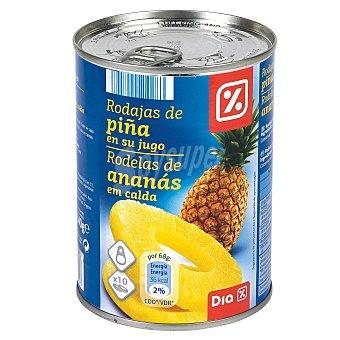 DIA Piña en su jugo rodajas lata 340 gr Lata 340 gr