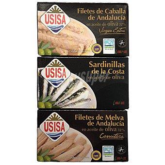 Usisa filetes de melva de Andalucía en aceite de oliva + sardinillas de la costa en oliva neto escurrido con regalo de una lata caballa 80 g neto escurrido pack 2 latas 80 g
