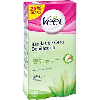 Veet Bandas de cera depilatoria con Aloe Vera y Flor de Loto para piel seca caja 8 unidades + 2 gratis Caja 8 unidades