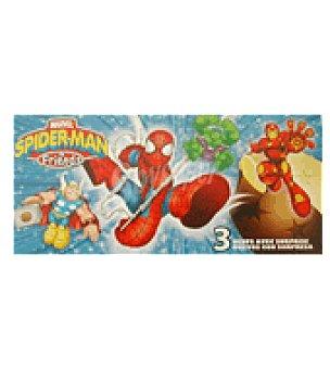 Spiderman Pack de 3 huevos de chocolate con sorpresa Spiderman Pack de 3x20 g