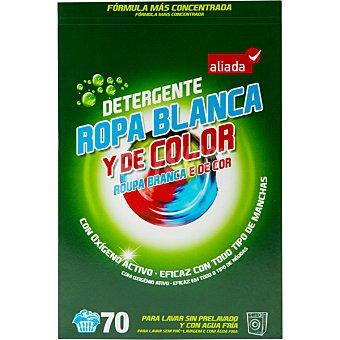 Aliada Detergente máquina polvo para ropa blanca y de color con oxígeno activo Maleta 70 cacitos