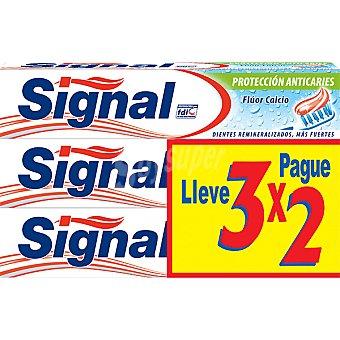 Signal Pasta dentífrica protección anticaries flúor y calcio x2 tubo 75 ml Pack 3