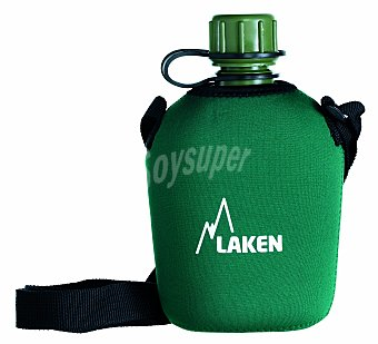 LAKEN Cantimplora tradicional con capacidad de 1 litro, fabricada en polietileno y con funda de neopreno 1 unidad