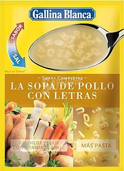 Gallina Blanca Sopa completa de pollo con letras sobre 100 g