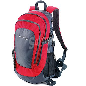 RUNFIT Mochila Trekking en color rojo y gris 1 unidad