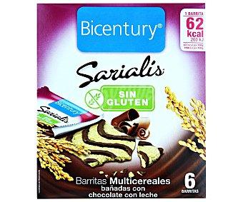 Bicentury Sarialís Barritas de cereales decoradas con chocolate con leche sin gluten 78 g (6 uds)