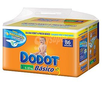 Dodot Básico Pañal Talla 3 (4-10 kg) Paquete 86 ud