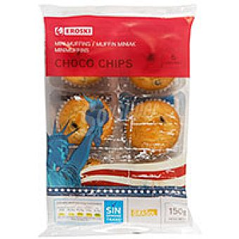 Eroski Mini muffin choco chip Paquete 150 g