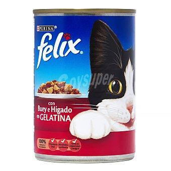 Purina Felix Alimentación húmeda para gatos con bocaditos de buey e hígado en gelatina Lata 400 g
