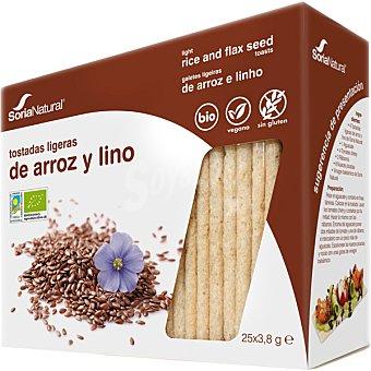 SORIA NATURAL Tostadas ligeras de arroz y lino ecológicas  paquete 100 g