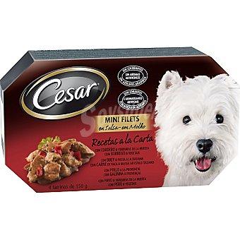 CESAR Recetas a la carta alimento para perro en salsa con carne 4 tarrinas de 150 g