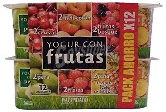 Hacendado Yogur trozos frutas (2 cereza, 2 melocoton, 2 fruta DEL bosque, 2 pera, 2 fresa, 2 piña) Pack 12 x 125 g - 1,5 kg