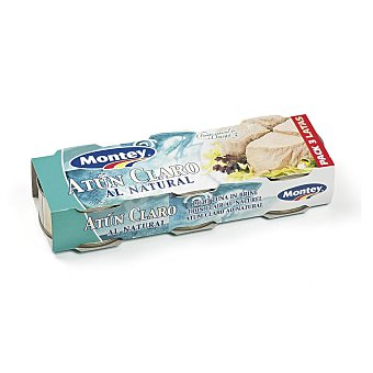 Montey Atún claro al natural Pack 3 latas 56 gr