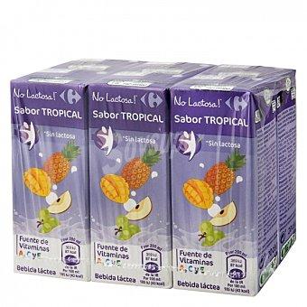 Carrefour Zumo de fruta y leche Tropical sin lactosa Pack de 6 briks de 20 cl