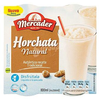 MERCADER horchata natural granizada pack 4 unidades 200 g (800 ml)