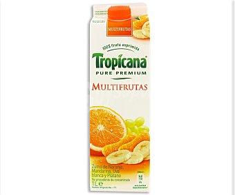 Tropicana Pure Premium Zumo multifrutas de naranja, mandarina, uva blanca y plátano Envase 1 l