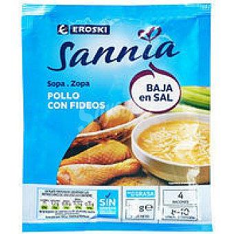 Eroski Sannia Sopa de pollo-fideos baja en sal Sobre 80 g