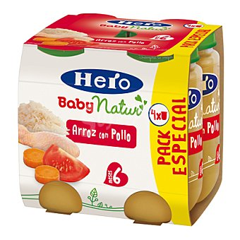 Hero Baby Natur Tarrito de arroz con pollo Pack 4x235 g